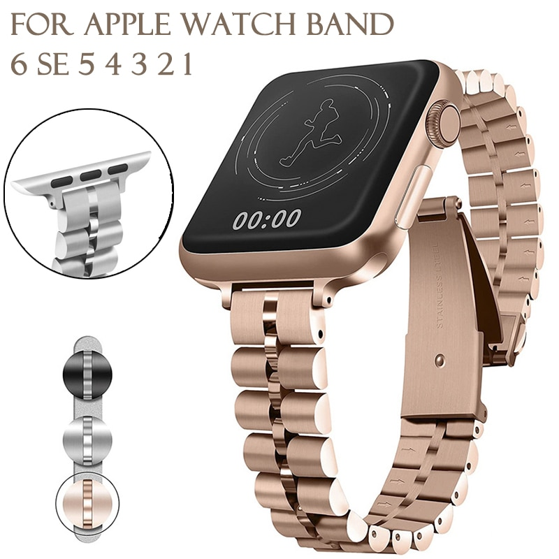 women strap for apple watch 6 band 38mm 42mm iwatch band serice 5 4 3 stainless steel strap for apple watch strap 44mm 40mm 2 1 Women watch band Stainless Steel Watch Strap For Apple Watch Band 44mm 40mm SE/6/5/4/3/2/1 Metal Strap For iWatch Series 38mm 42