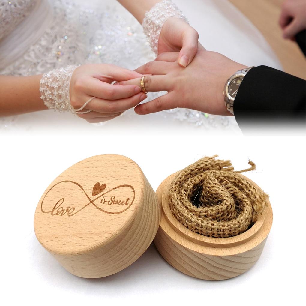 Rustic Wedding Wood Ring Holder Wedding Ring Box Engagement Engraving Wooden Rings Case