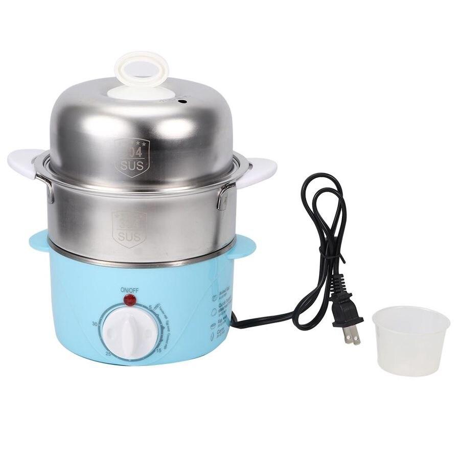 Hervidor de huevos eléctrico doble capa 14 huevos vaporera de acero inoxidable al vapor maíz cocina electrodomésticos US Plug 120V 150W