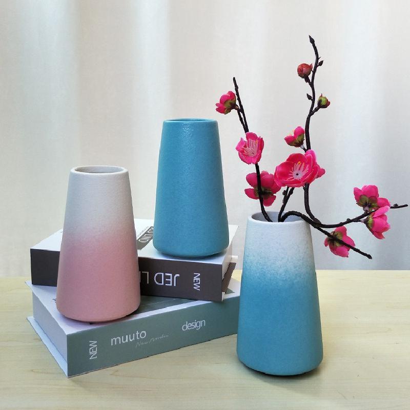 Esmerilado de boca ancha florero de cerámica ornamento chino Simple europeo Retro gran calibre mate Zen negro blanco Azul Rojo