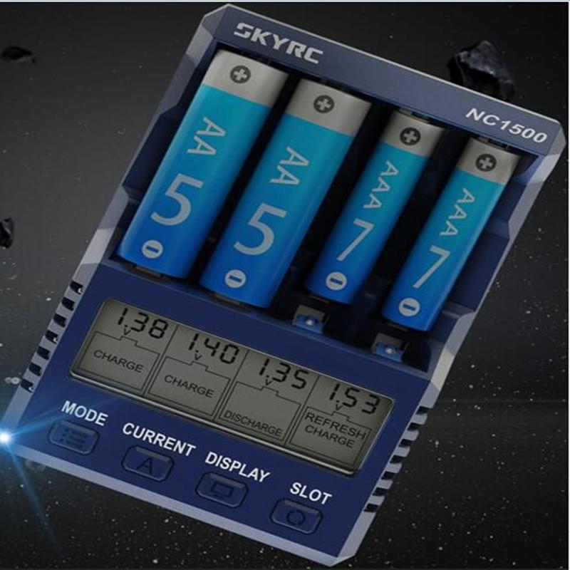 SKYRC NC1500 5V 2.1A 4 ranuras AA/AAA n. ° 5 N. ° 7 cargador de batería NiMH cargador Analizador de descargador