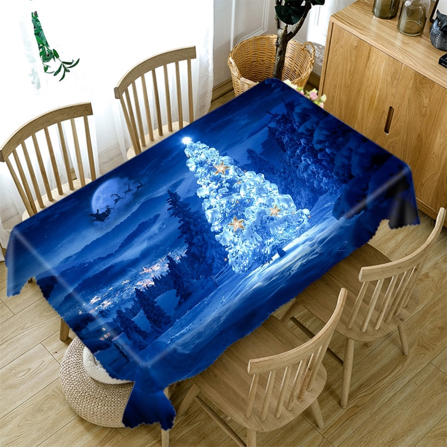 Mantel navideño 3d con diseño de bola azul y vela, paño grueso de algodón, mantel Rectangular de mesa redonda para Navidad