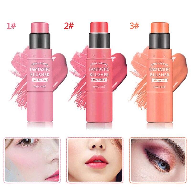 1 Pcs Portable Double Head Blush Stick Charming Durable Waterproof Blusher 3 Colors Optional TSLM1