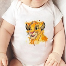 Jumpsuit For Girls Lion King Print Cartoon Newborn Clothes Casual Cute Simba Toddler Short Sleeve 0-