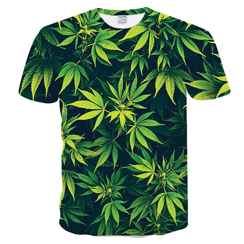 Camiseta informal de manga corta para hombre en 3D, camiseta de verano a la moda con cuello redondo y manga corta, camiseta creativa de hoja de arce verde