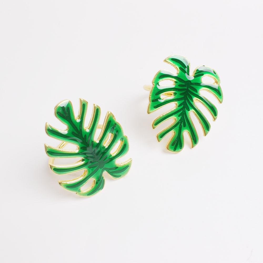10 uds, hebilla de servilleta de hoja de tortuga verde de Metal, anillo de servilleta de hoja de Hotel, anillo de servilleta de hoja de boda