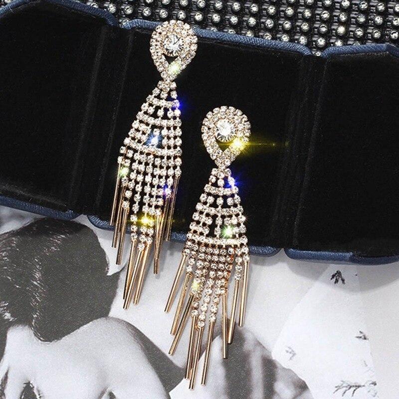 Personalidade borlas eardrop para as mulheres brilhante strass borla brinco coreano moda sexy nightclub zircão waterdrop orelha jóias