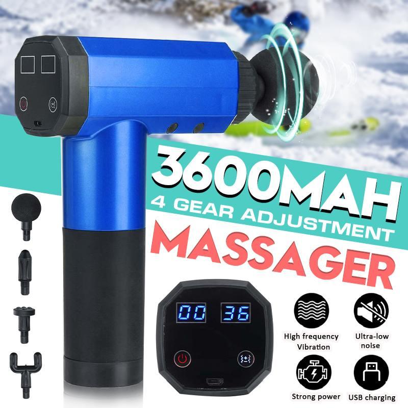USB 4 engranajes pantalla LCD masaje muscular arma deporte masajeador terapia cuerpo relajación dolor alivio adelgazar la masajeador 4 cabezas