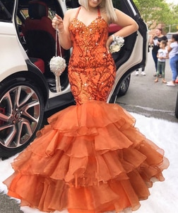 Lanvendia Women Orange Glitter Sequin Prom Dresses for Party 2020 Sexy Spaghetti Strap Evening Gowns Tulle Bridal  Gown