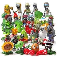 40 pçs/pçs/set plantas vs zumbis figuras de ação modelo brinquedos pvc plantas zumbis figuras brinquedos boneca conjunto coleção criança festa decoração