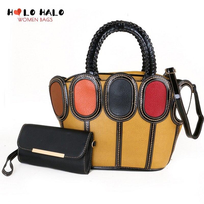 الإناث المحافظ و حقائب 2 قطعة مجموعة الحقائب الأزياء Crossbody حقيبة دلو حقيبة محفظة المرأة الملونة الربط حقيبة كتف جلدية PU