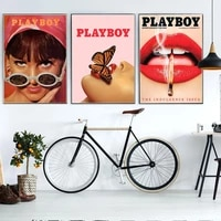 playboy vintage canvas poster and prints bunnies glasses art painting lips butterflies retro wall picture living room decoration
