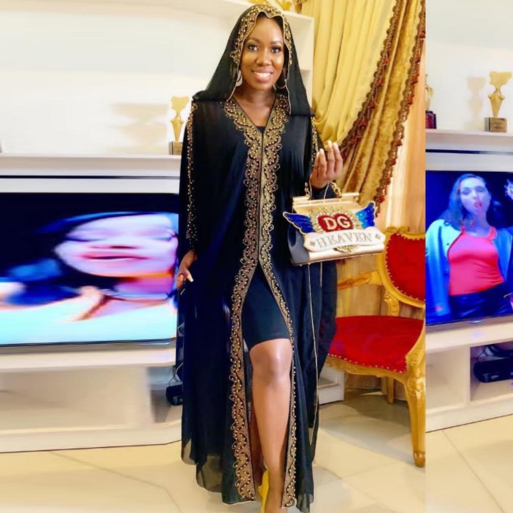 Nuevos vestidos africanos para mujeres Dashiki Kimono Cardigan suelto África ropa bordado Bazin Robe Abay Dubai vestido de fiesta musulmana
