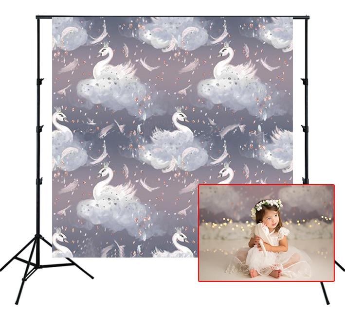 Fondo fotográfico cisne blanco en nube suave paso y patrón repetido fondo de fotografía Lotus niños fiesta pared Banner Utilería de estudio de fotografía