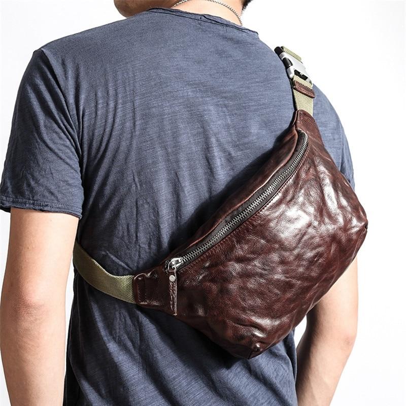 Модная роскошная дизайнерская мягкая плиссированная нагрудная сумка из натуральной кожи для мужчин, молодежная Уличная Повседневная пояс...