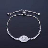 funmode trendy charm evil eye pendant mirco cz pave tennis chain bracelets for women pulseras wholesale fb39
