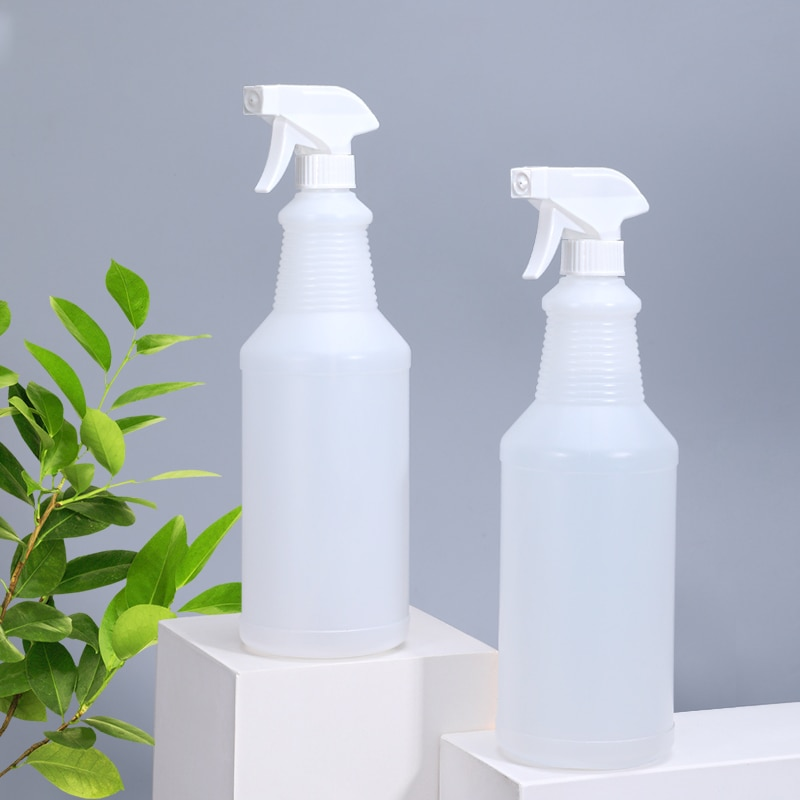 Translucent 1000ml plastic Spray Bottle Leak Proof Mist Empty water bottle for Cleaning Solution Planting with adjustable Nozzle
