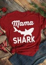Fashion Clothes Funny Graphic Casual T Shirt Summer Style Outfits Tees Tshirt Tops Mama Shark Short Sleeve T-Shirt Womenns Tees