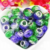 10pcs big hole beads silver plated core flower painting round fit european charms pandora bracelet spacer for diy jewelry making