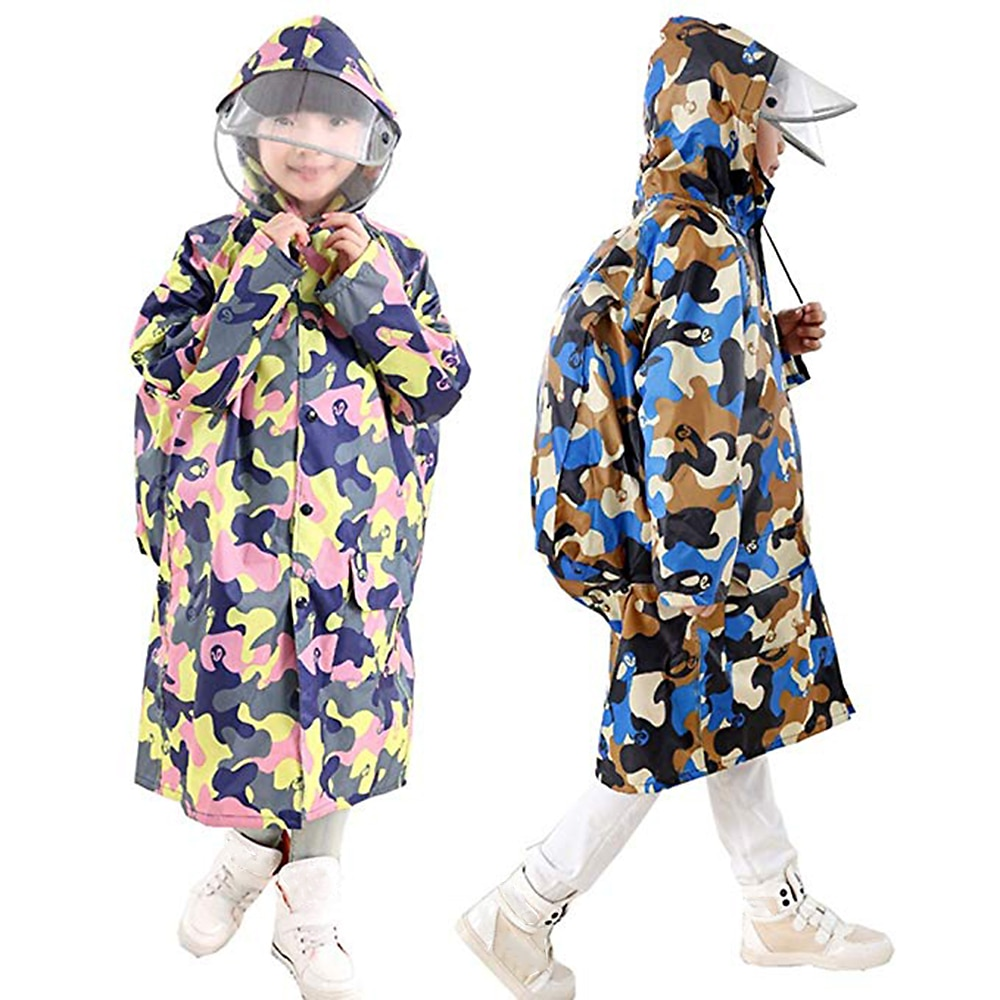 Nuevo impermeable de camuflaje para niños impermeable, impermeable, grueso, para niños y niñas, capa de lluvia con cubierta del bolso de la escuela, ligero