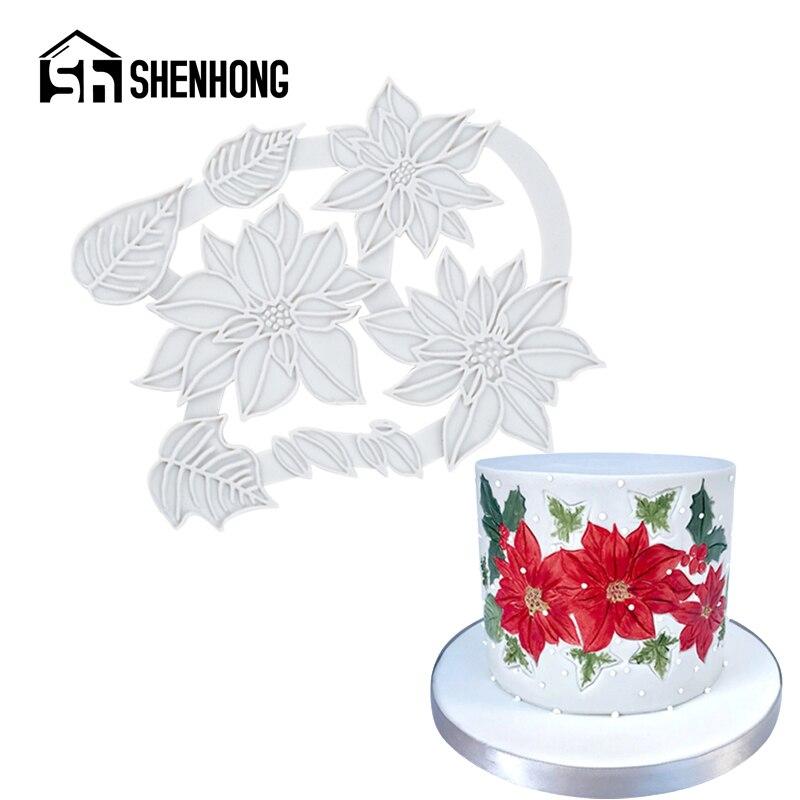 Shenhong pétala videira silicone fondant bolo molde sugarcraft gumpaste molde de cozimento flor de natal pastelaria sobremesa ferramentas de decoração