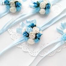 LKY Fr Wrist Corsage Wedding Bridesmaid Bracelet fleur Foam Roses Boutonniere Bridal Sister Girl Bracelets Party Prom Decoration