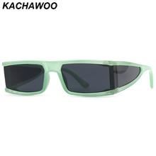 Kachawoo ladies rectangular sunglasses shield uv400 brown green sun glasses female accessories Europ