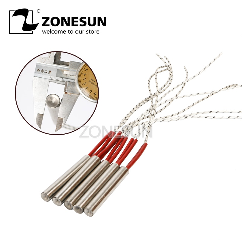 ZONESUN-قالب تسخين ، سلك ، خرطوشة ، توليد الكهرباء ، الطول 80 مللي متر ، 5 قطعة ، قطر 6.8.10.12 مم