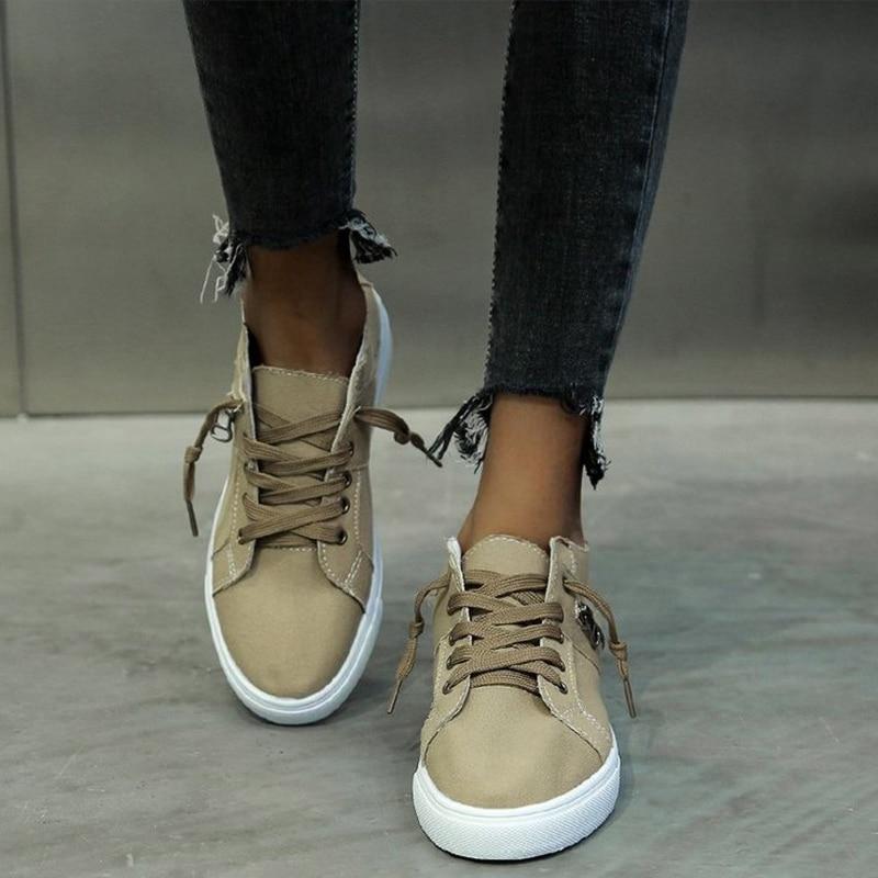 Zapatos de mujer Cavans planos Sneacker con cordones informales para mujer, zapatos informales para caminar para mujer, mayor comodidad, plataforma de tamaño, mocasín Retro 2020 para mujer