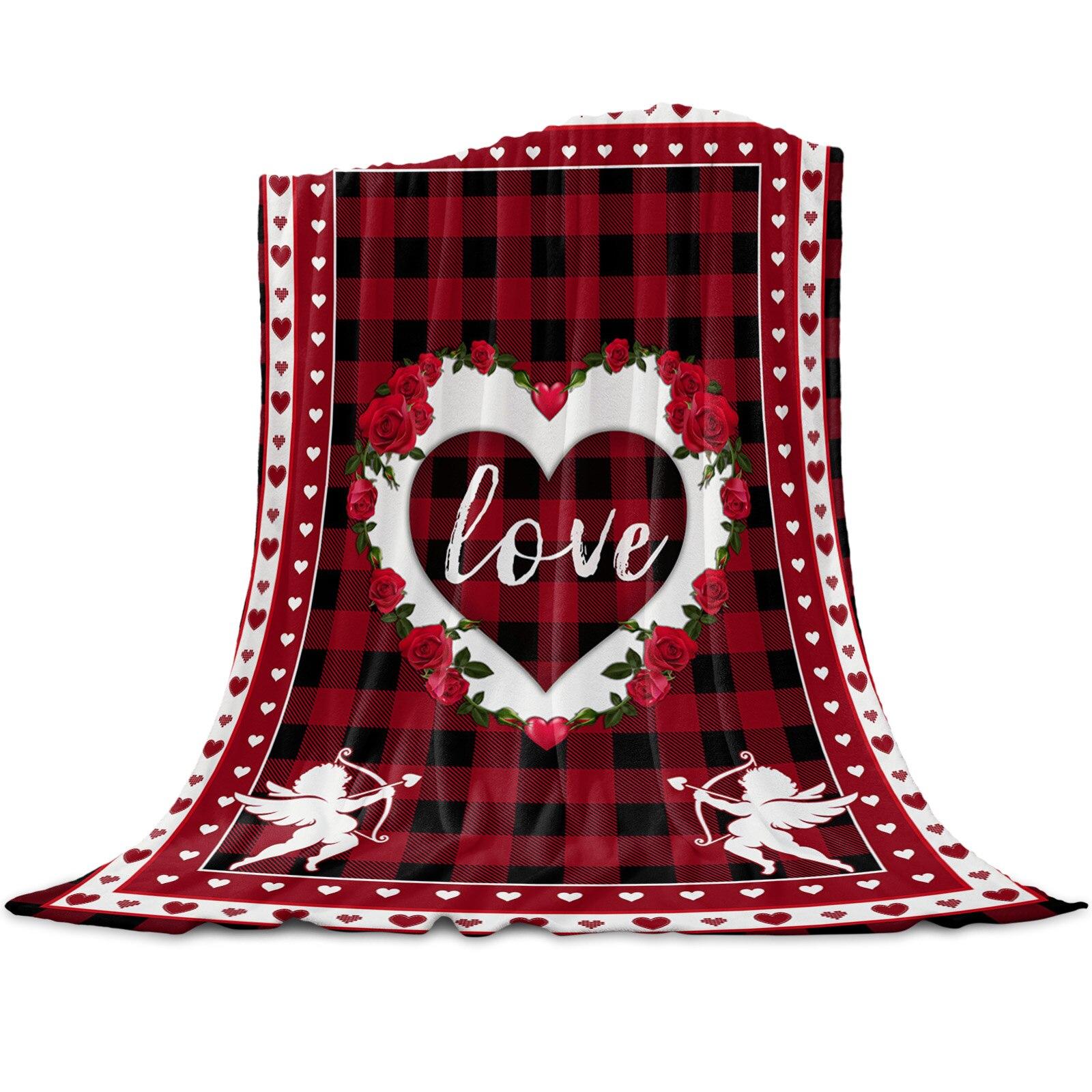 عيد الحب الأحمر منقوشة القلب الحب رمي بطانية للأسرة ستوكات الفانيلا بطانية دافئة أريكة الفراش المفرش الهدايا