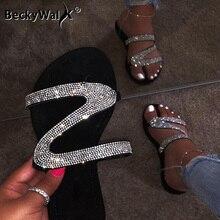 New 2020 Summer Women Sandals Flip Flops Slippers for Beach Fashion Rhinestone Ladies Shoes Woman Flat Heels Sandalias  WSH3513