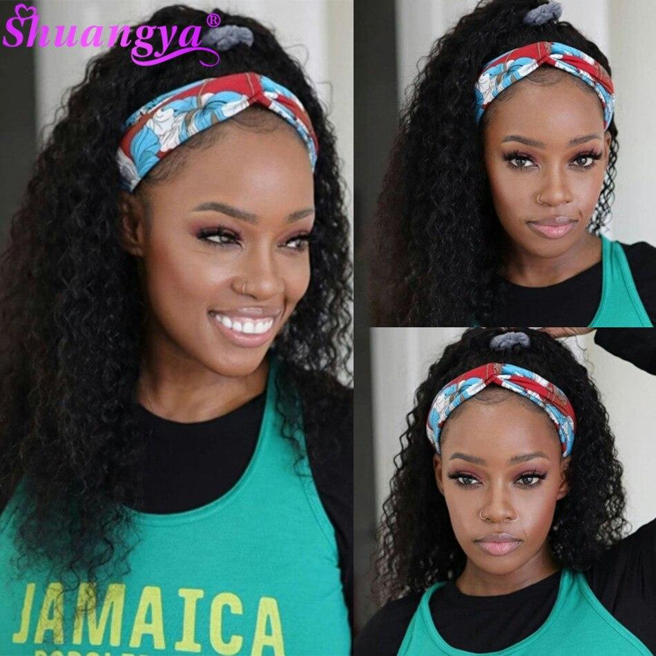 Shuangya Headband Wig Human Hair Shuangya Hair Water Wave 100% Remy Human Hair Wigs Brazilian Scarf Wig For Black Women Glueless