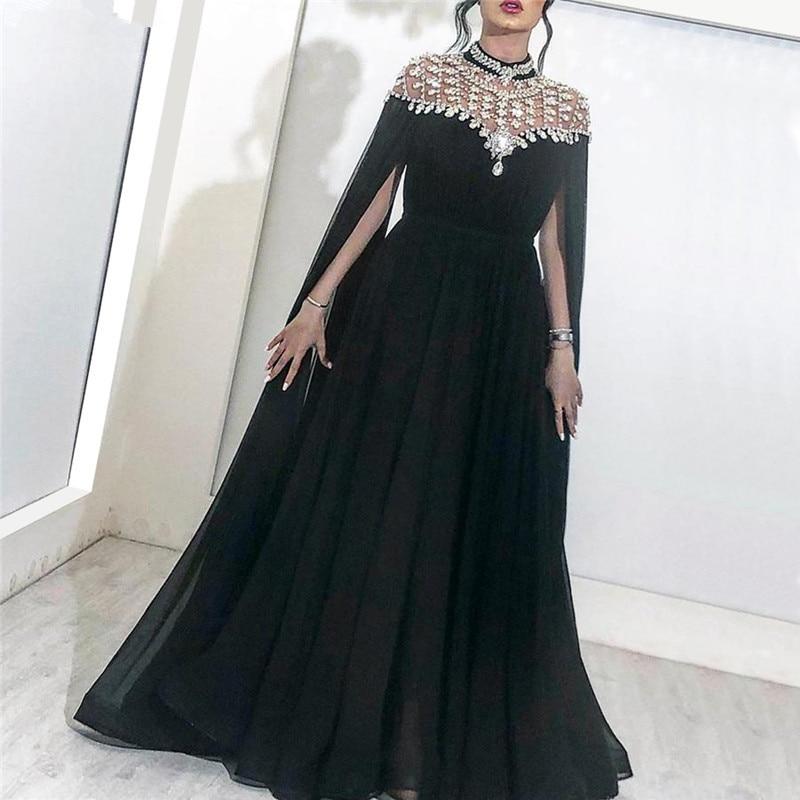 Black 2019 Muslim Evening Dresses A-line Cap Sleeves Chiffon Beaded Crystals Dubai Saudi Arabic Long Evening Gown Prom Dress