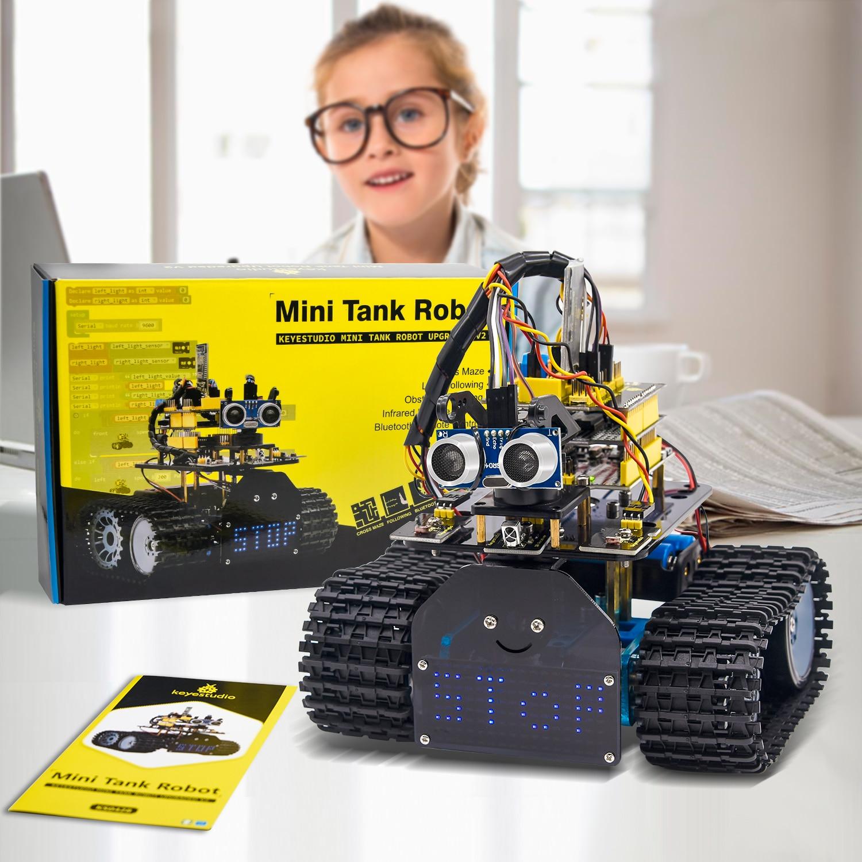 Keyestudio DIY Mini Tank Robot V2.0 Smart DIY Robot Car Kit for Arduino Robot STEM+ 15Projects /Supp
