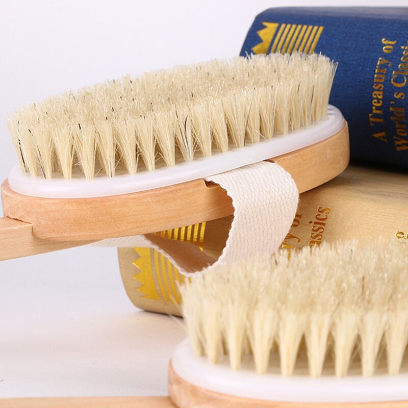 Soft Fur Body Back Brush Cleaning Detachable Long Handle Bath Brush Shower Cleaner Wooden Handle Firm Exfoliating Bath Brush enlarge