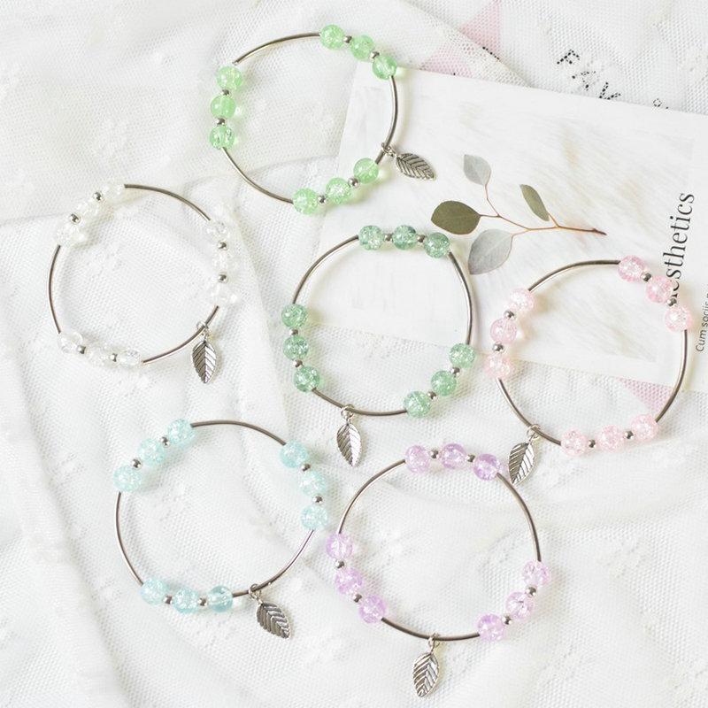 4pcs/lot Ice River Charms Elastic Rope Women Bracelet Girls Glass Beads Leaf Bracelets Fashion Jewelry Gifts