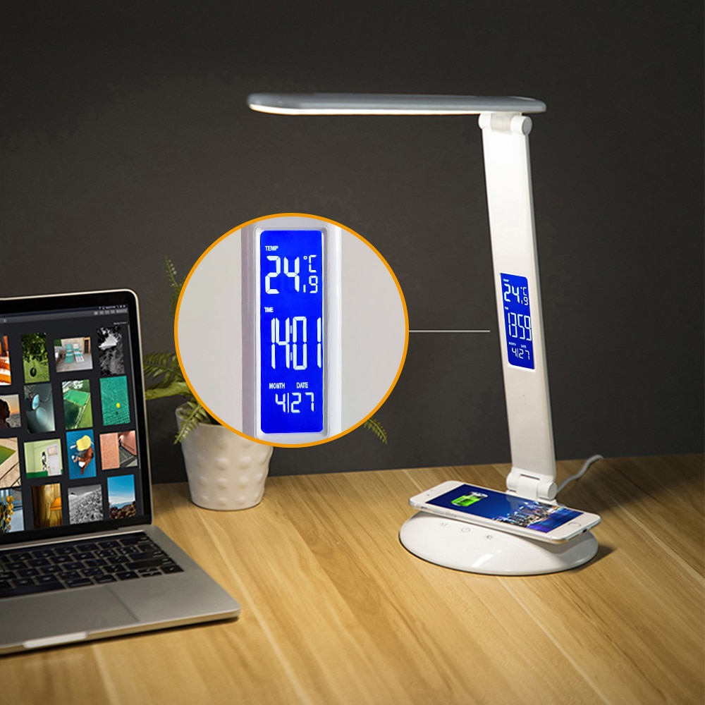 LED Desk Lamp with Wireless Charger, USB Charging Port, Desk Lighting with 3 Brightness Level, 3 Lighting Modes, Dimmable Eye-Ca