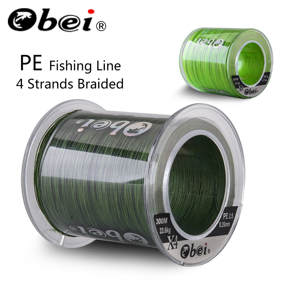 Obei 300M 500M PE Fishing Line 4 Strands Braided  Multifilament Fishing Line Smooth Sea Softwater Line 10-120lb sougayilang 300m 4 strands braided fishing line 0 6 8 0 pe fishing line 6 3 32 8kg multifilament fishing line smooth pesca