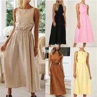 fashion elegant hot solid color strap women dress slip black maxi dress backless vintage summer new female party dress vestidos