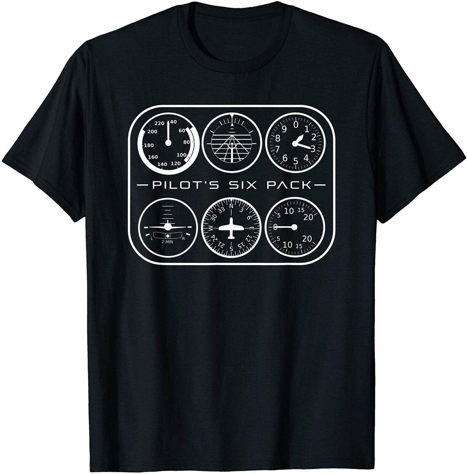 Lote de seis unidades de Pilotaposs, camiseta de aviación con Instrumentos de vuelo, camiseta de regalo Vintage para hombres