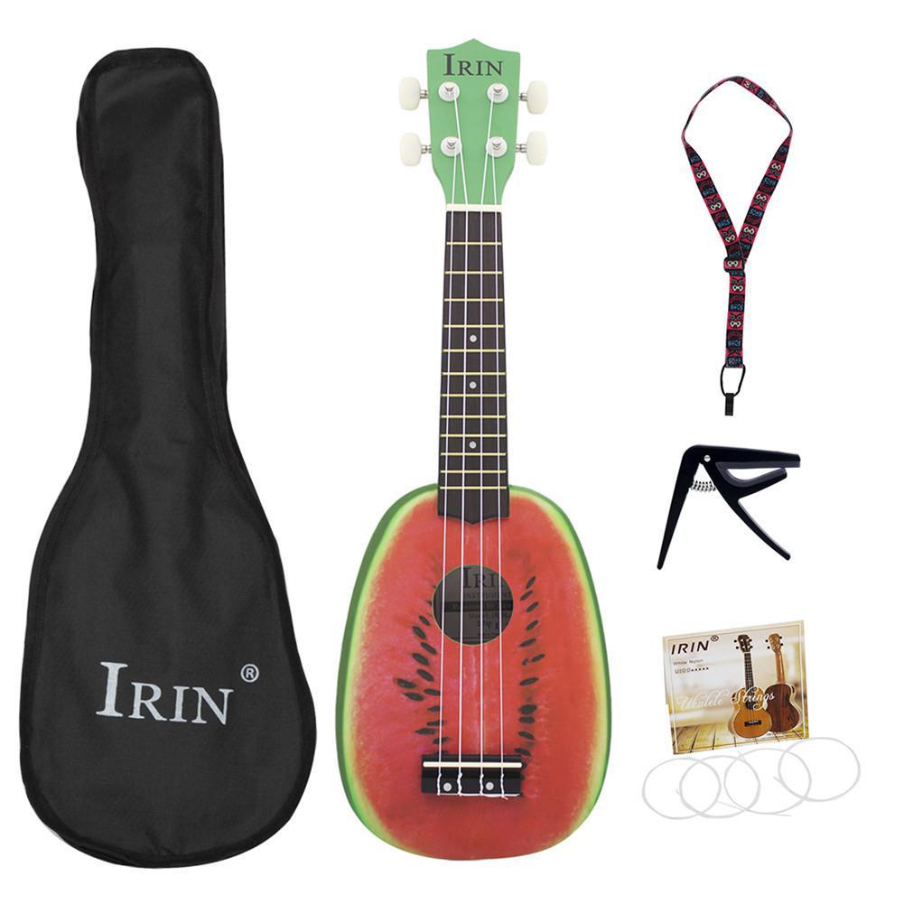 Irin 21in basswood ukulele bonito forma de melancia iniciantes concertos ukuleles armazenamento saco strape cordas capo