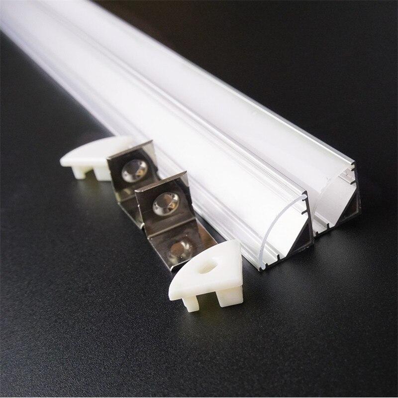 20 дюймов 50 см угловой профиль, V образный светодиодный алюминиевый профиль, 12 мм 12 В 24 В жесткая полоса канал, 45 градусов лестничный светильник