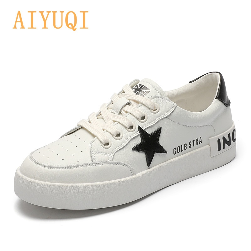 AIYUQI Women's Sneakers 2021 Spring Summer New Korean Genuine Leather Shoes Girls Students Lace Up Flat Casual Loafers Women