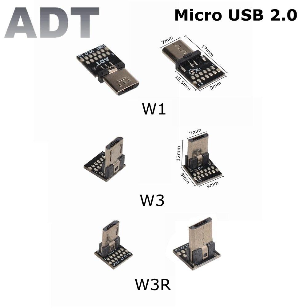 Adt-link-Conector Micro USB 2,0 macho FPV, Adaptador convertidor de PCB de 90...