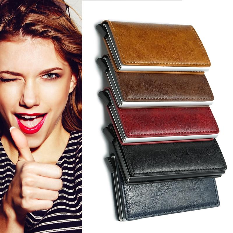 Antirobo Auto tarjeta de crédito titular de cuero RFID bloqueo pequeño Metal billetera dinero Clip dinero almacenamiento bolsas hogar almacenamiento