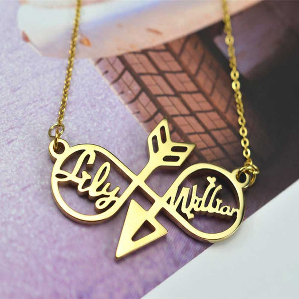 MumuXing Personality Infinity Symbol Arrow Hollow Necklace Custom Men and Women Double Name Stainless Steel Pendant