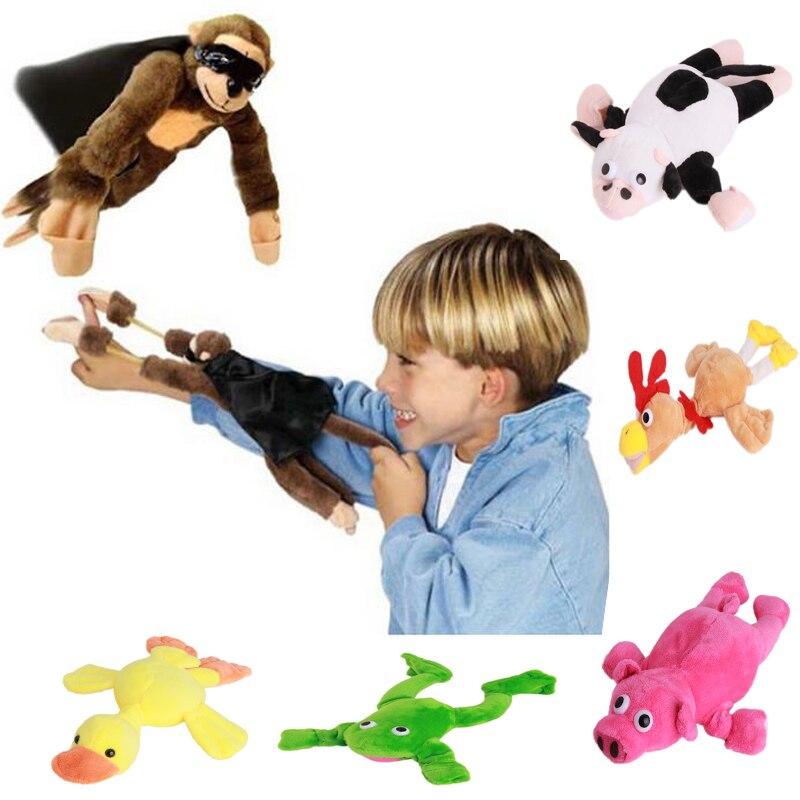 1 pc macio bonito das crianças da menina do menino da criança dos miúdos de pelúcia estilingue gritando som misturado para a escolha pelúcia brinquedo do macaco voador