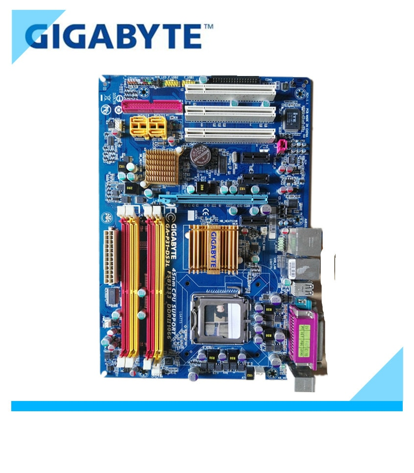 Gigabyte GA-P31-DS3L desktop placa-mãe p31 soquete lga 775 para núcleo 2 ddr2 4g micro atx original usado P31-DS3L mainboard g31