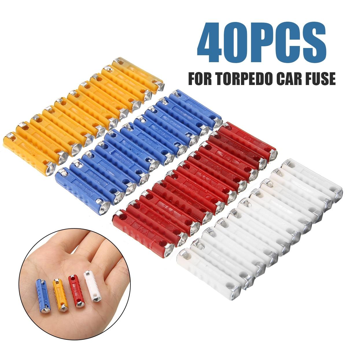 Kit surtido de fusibles de Torpedo 40 Uds 5Amp/8Amp/16Amp/25Amp Kit de fusibles de cerámica Continental para coche con forma de Torpedo Bullet Classic