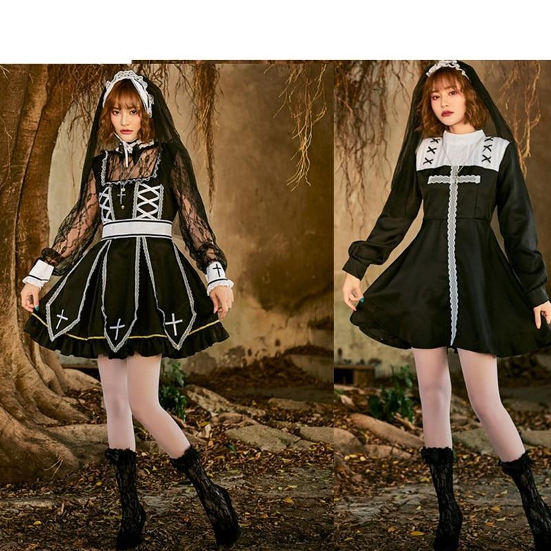 Halloween Sexy mauvaise habitude Nun Cosplay Costume église missionnaire religieuse soeur déguisement